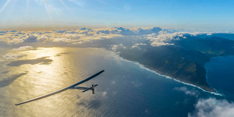 Solar Impulse off Kaena Point, Hawaii