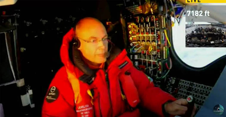 Bertrand Piccard in cockpit of Si2 during Leg 9